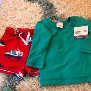 Hanna Anderson trunks and rash guard swim shirt